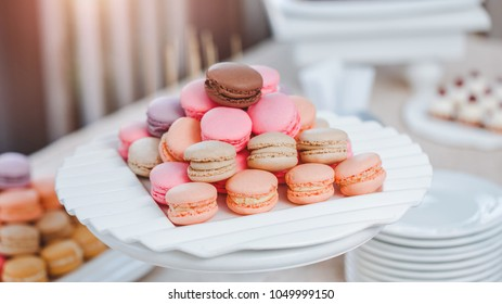 Colorful macaroons. Dessert for holiday