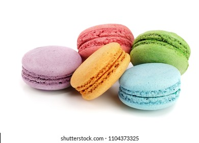 colorful macaroons isolated on white background closeup