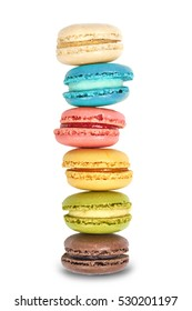 Colorful macaroons on white background. Macaron or Macaroon is sweet meringue-based confection.