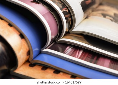 Colorful magazines up close