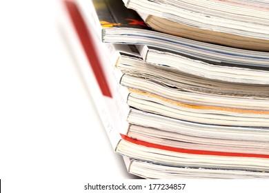 Colorful magazines up close shot
