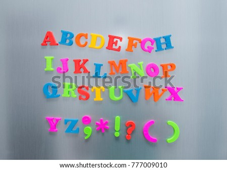 colorful magnetic letters on refrigerator door funny colorful comics kid font fridge magnet style