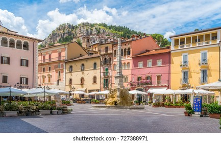 The colorful main square of Tagliacozzo in a summer morning, province of L'Aquila, Abruzzo, central Italy. July-27-2017