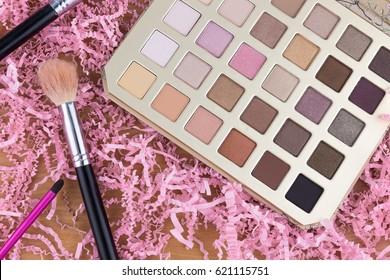 colorful make up eye shadow and brush make up