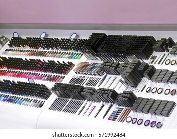 Colorful make up shelf in retail store