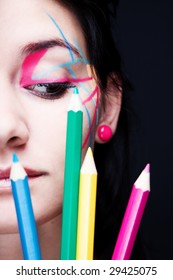 Colorful make-up with crayons decoration