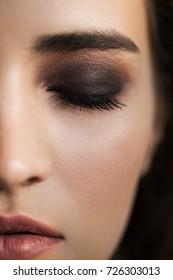 Colorful makeup eye makeup. brown eyelids.