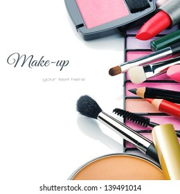 Colorful make-up products isolated over white