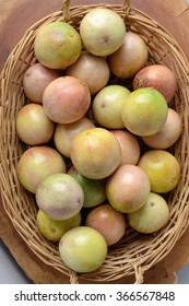 colorful makisa passion fruit in a wooden basket