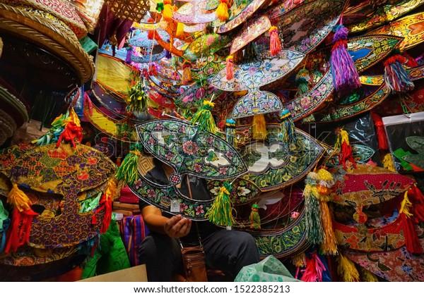 The Colorful Malaysian Kites Shop at Central Market, Kuala Lumpur capital city of Malaysia