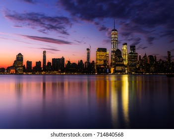 Colorful Manhattan Skyline reflections Pre-sunrise New York City downtown