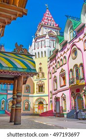 The colorful mansions of art galleries, souvenir stores and restaurants with the tower in corner, Izmailovsky Kremlin, Russia.