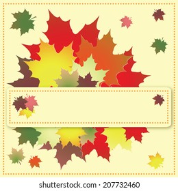 Colorful maple leaves on the greeting card.