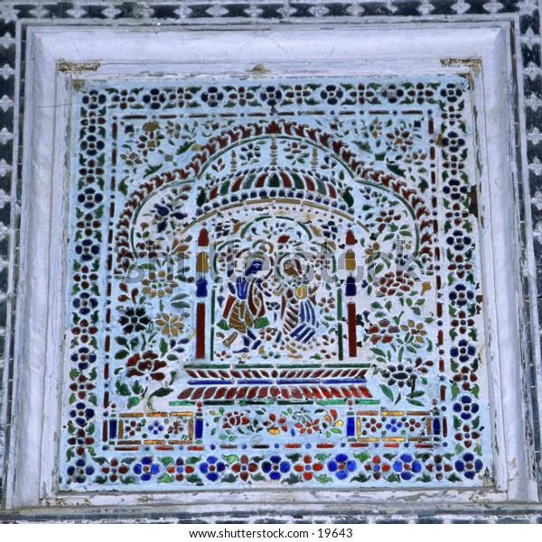 Colorful Marble Window of Taj Mahal