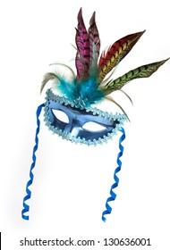 Colorful Mardi Gras feathered mask isolated on white background