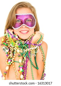 colorful mardi gras queen smiling and holding a lot of beads. isolated on white blackground