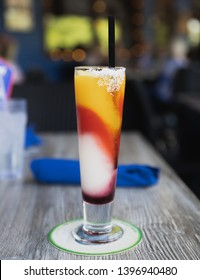 Colorful margarita drink at a mexican restaurant in Texas