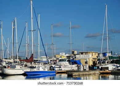 The colorful marina on the north end of Key West, Florida filled with boats on a sunny summer day against a blue sky.