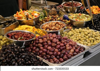 Colorful marinated olives and vegetables