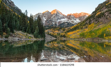 Colorful at maroon bell.Aspen colorado. Light on the peak of maroon peak.