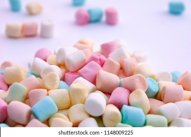 Colorful marshmallow background. Shallow DOF.