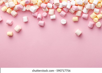 Colorful marshmallows background with copy space. Top view