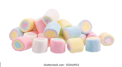 colorful marshmallows candy isolated on white background