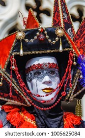 Colorful mask in the Venice Carnival 2017 in Italy