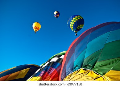 Colorful mass hot air balloon ascension