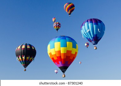 Colorful mass hot air balloons in the air
