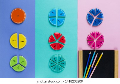 Colorful math fractions on the pink blue violet  bright backgrounds. Interesting math for kids. Education, back to school concept. Geometry and mathematics materials. Mental Math
