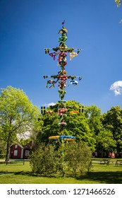 Colorful maypole decorations