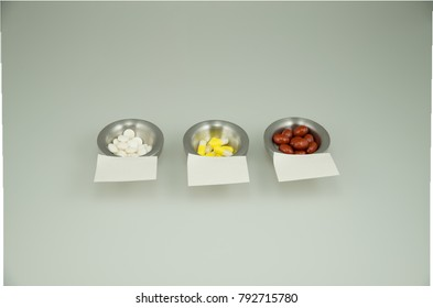 Colorful medications on a light background with empty sticky notes