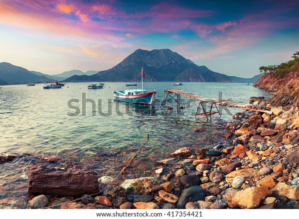 Colorful Mediterranean seascape in Turkey. Dramatic spring scene in Adrasan bay with view of Moses Mountain. Artistic style post processed photo.