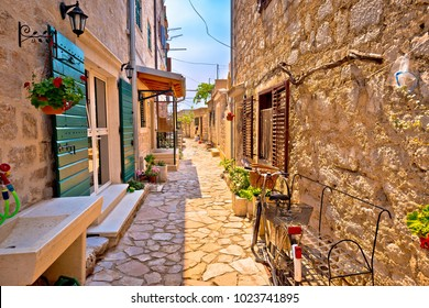 Colorful mediterranean stone street of Prvic island, Sibenik archipelago of Croatia