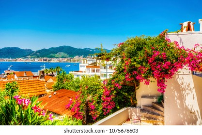 Colorful Mediterrannean street in Marmaris Town