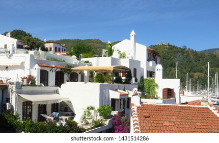Colorful Mediterrannean street in Marmaris Town, white houses of Marmaris, old mediterranean houses