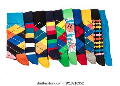 Colorful Men's Socks on white background