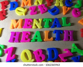 Colorful mental health word