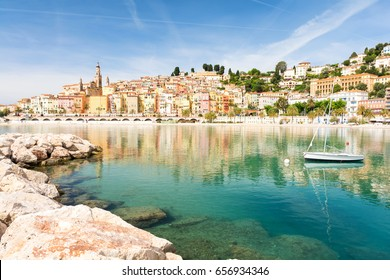 colorful Menton town on Cote d'Azur in south France