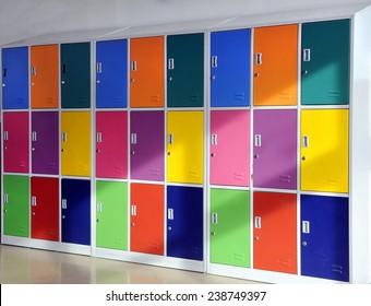 Colorful metal lockers in the hallway of the school