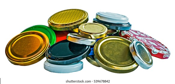 Colorful metallic lids for jars isolated on white background - Shutterstock ID 539678842