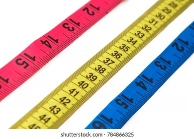 colorful metric tape isolated on white