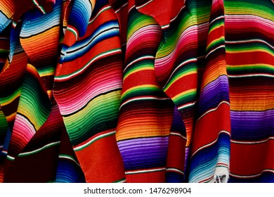 Colorful Mexican blankets for sale at market, Chichén itza, Mexico.