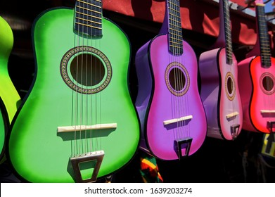Colorful Mexican guitars on display