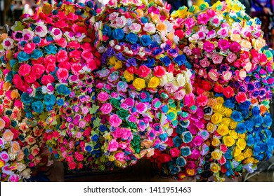 Colorful Mexican Paper Flowers  Oaxaca Juarez Mexico.