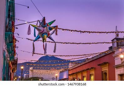 Colorful Mexican Pinata Illuminated Street Oaxaca Juarez Mexico
