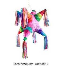 Colorful mexican pinata used in birthdays isolated on white