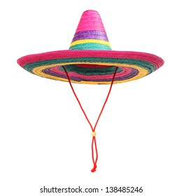 A  colorful mexican sombrero on a white background.