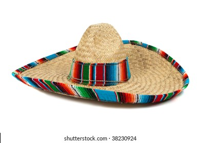 A colorful mexican sombrero on a white background with copy space 6ffa8b17535